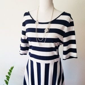 Crown & Ivy Navy White Striped Skater Fit Flare